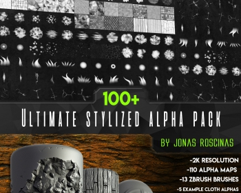 Zbrush深度灰阶贴图笔刷PSD文件素材 Cubebrush – 100+ Ultimate Stylized Alpha Pack by J Roscina